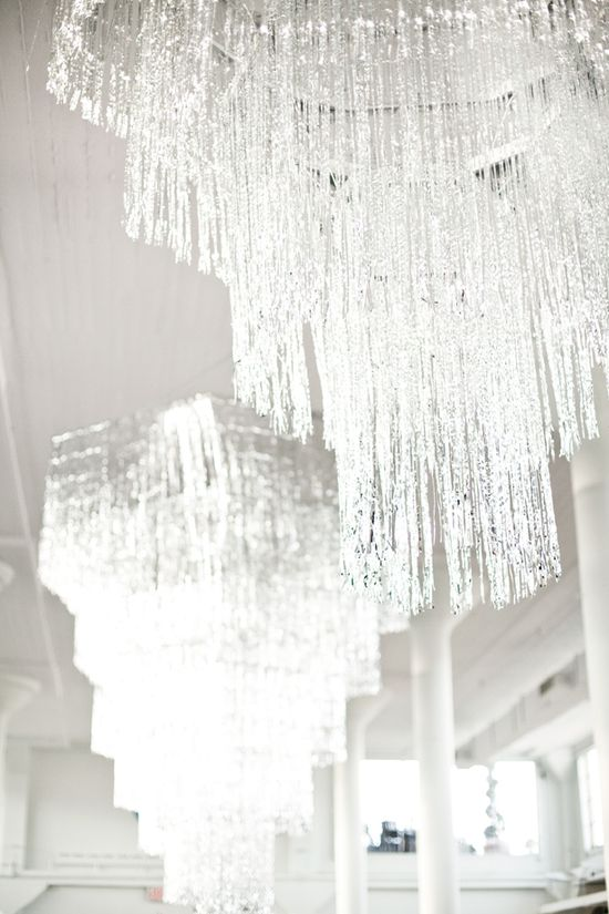 Tinsel chandeliers