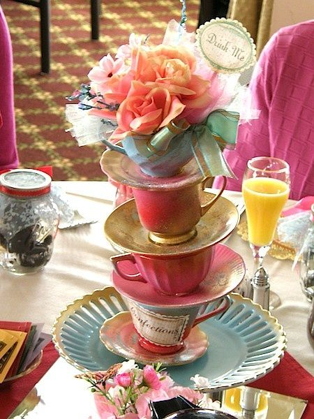 Tea Party Cup tower Centerpiece Can choose by spoonfulofsugarco