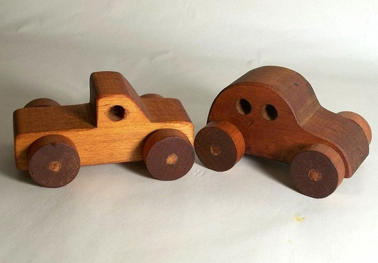 Vintage wood toy cars, hand made wooden car, wooden truck, hand made wood Volkswagon, pickup truck wood car wood truck wood toy collectible. $9.95, via Etsy.