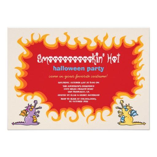 Cartoon Magic Dragons Fire Halloween Party Invite