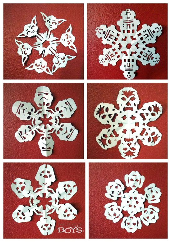 Star Wars Snowflakes - Links to templates and tutorials for creating Star Wars snowflakes