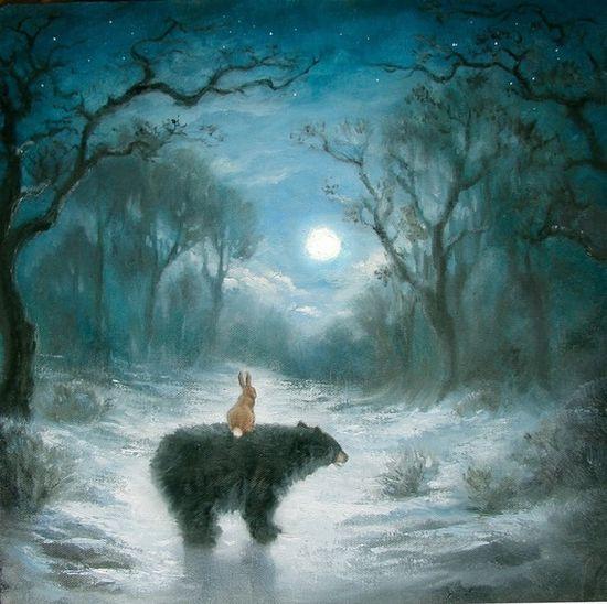 Rabbit art. Isabella and the Bear.