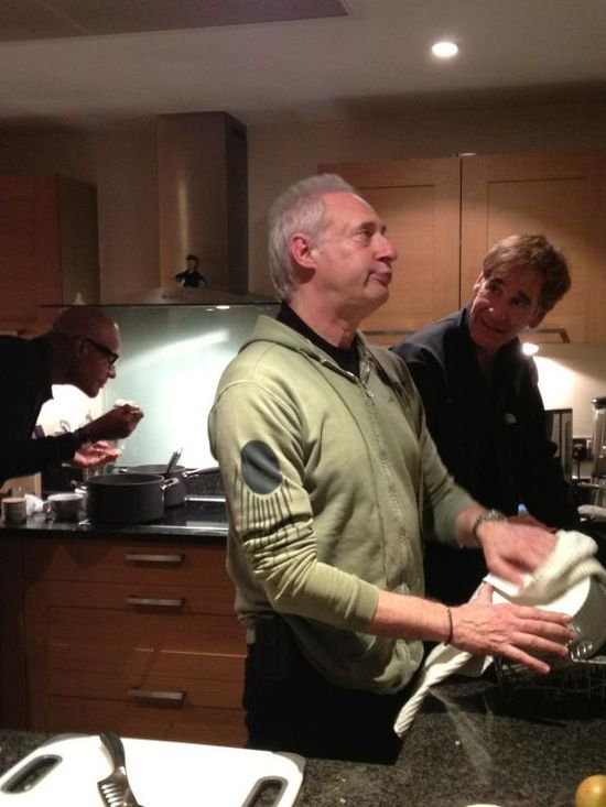 Brent Spiner and Scott Bakula working the dish clean up while Michael Dorn tastes his masterpiece at Patrick Stewart's flat.