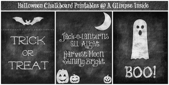 Free Halloween Chalkboard Printables #free #printables #October #halloween #holidays