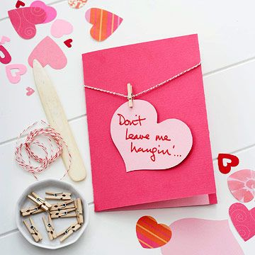 Don't Leave Me Hangin' #card #valentines #red #pink #clothespin #cute