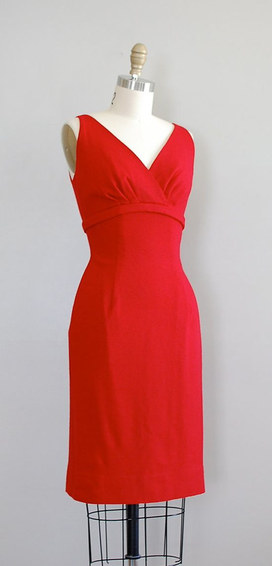 1950's Red Wool Dress