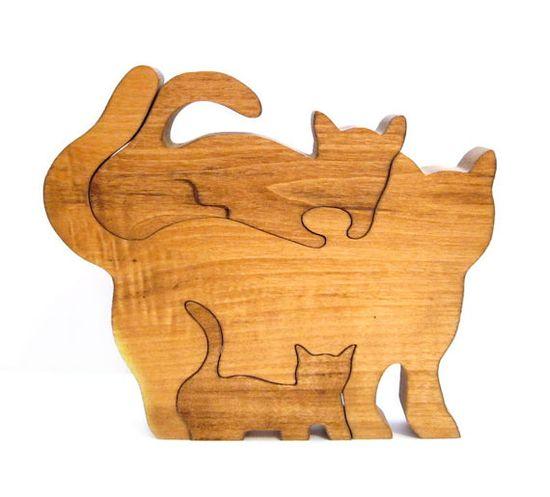 Vintage Wooden Puzzle, Handmade Wood Cat Puzzle