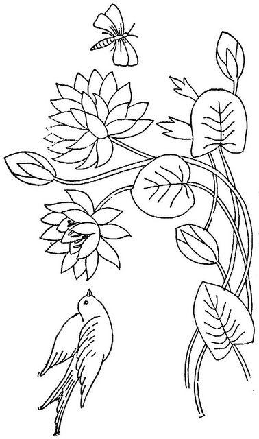 Water Lily w Bird