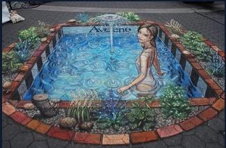 3D street chalk art