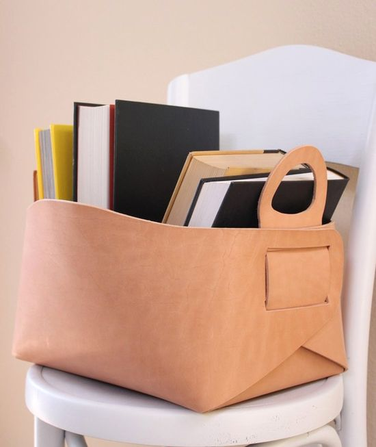 leather basket - www.etsy.com/...