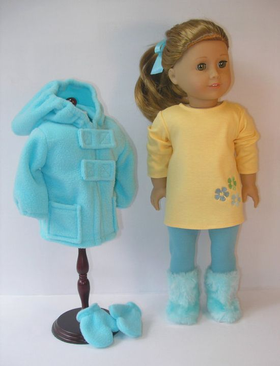 18 Inch American Girl Doll  Use rain jacket pattern and add pockets and tabs.