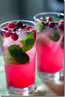 Cranberry Mojito ? 1 bunch fresh mint (1 cup), 1/2 cup sugar, 1 3/4 cups light rum, 1 1/4 cups fresh lime juice, 3/4 cup cranberry juice cocktail, sparkling water.