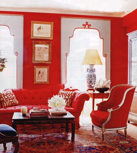 Rug, blue and white lamp, window treatment, red - Miles Redd in NY
