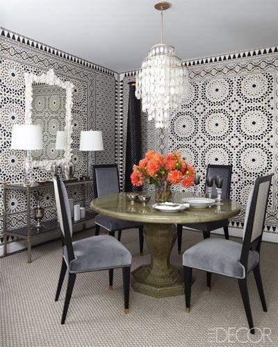 Dining room wallpapers are by Schumacher