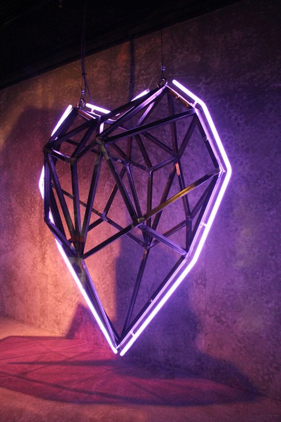 faceted heart installation by thomas creative #neon
