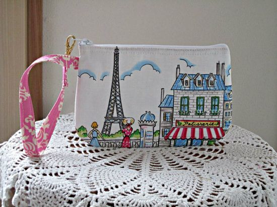 Wristlet Zipper Gadget Purse Pouch in Cafe by Antiquebasketlady, $11.99