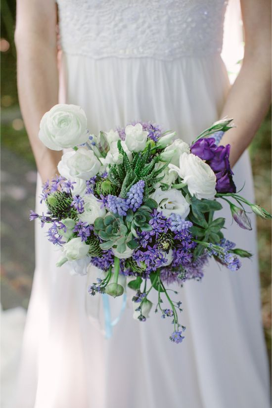 blue and white spring bouquet  Purple Bridal Bouquet / Modern Moroccan Wedding Inspiration / Les Amis Photo