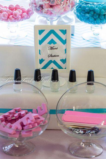 Nail station at a Spa Party #spa #party I love the idea of a spa party . And lov
