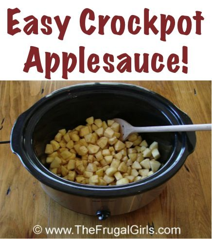 Easy Homemade Crockpot Applesauce Recipe!  {it tastes SO good, and will make your home smell heavenly!} ~ from TheFrugalGirls.com #crockpot #applesauce