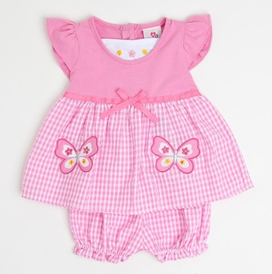 Gingham Butterfly Baby Outfit.