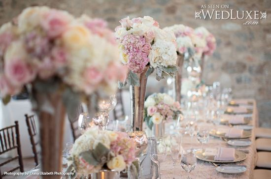 WedLuxe: #wedding #reception with dreamy pink and cream #floral #centerpieces