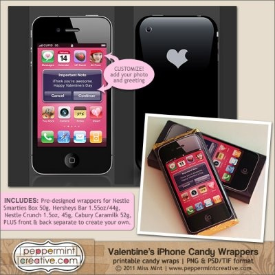 "Valentine's iPhone Candy Wrappers. I Printed an ""End of School"" version of this for a friend - so fun!"