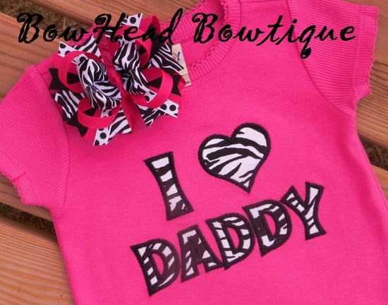 Zebra I Love Daddy Boutique Applique Shirt or Onesie and Bow Set. $28.00, via Etsy.