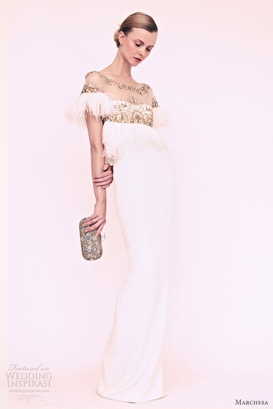 marchesa resort 2013 white column gown feather sleeves