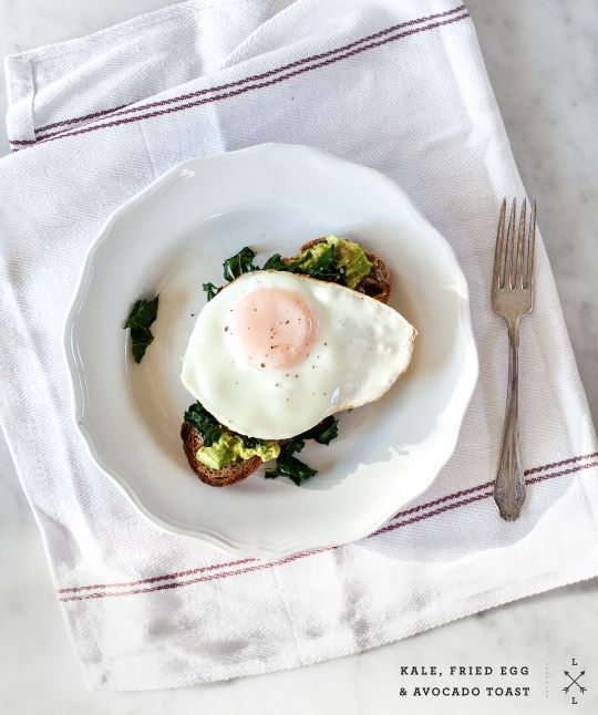 kale, fried egg, + avocado toast