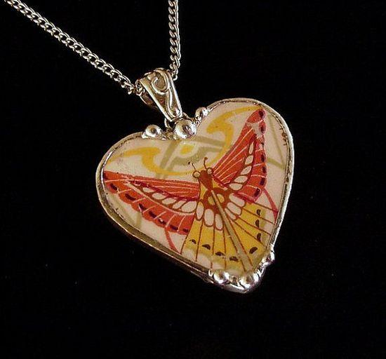 Broken china jewelry heart pendant Art Deco butterfly