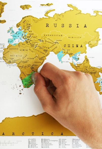 Scratch off travel map - for the jetsetter
