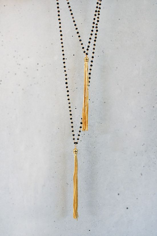 Black Onyx and Gold Tassel  Necklace