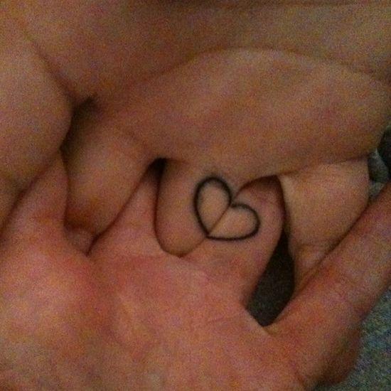 Couple tattoo, heart