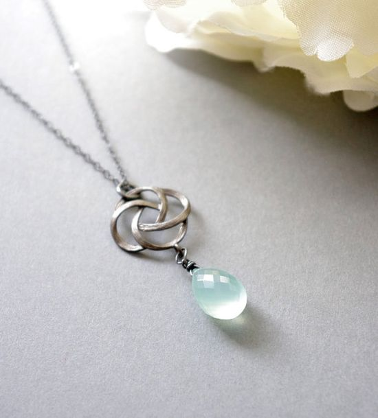 Rose Pendant Necklace  Aqua Chalcedony Necklace  by SarahOfSweden
