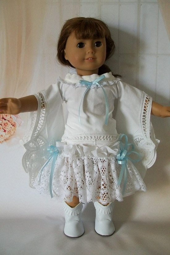 American Girl Doll Clothes. Boho Shabby Chic Skirt and Tunic from Vintage linens. $18.00, via Etsy.