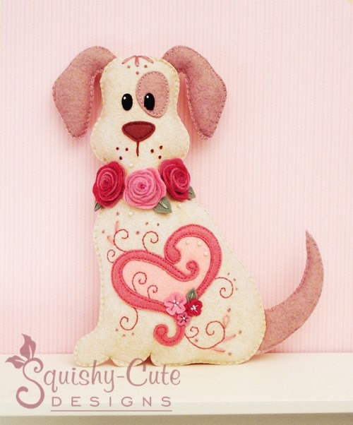 Stuffed Animal Pattern - Felt Plushie Sewing Pattern & Tutorial - Hugs the Valentine Dog - Embroidery Pattern PDF. $4.00, via Etsy.