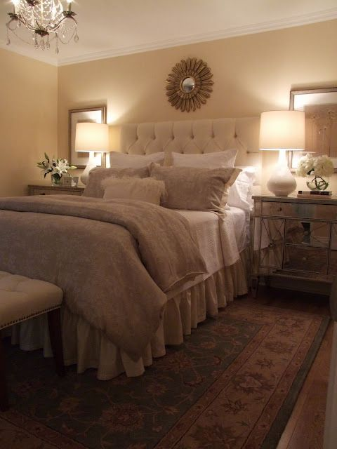 Linen bedding Creme tufted headboard Casual ruffled bed skirt (similar to Ballard Design burlap w/out fringe) Mirrored night stands White sheets