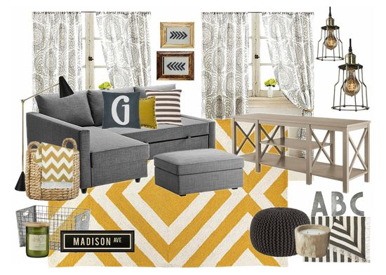Industrial Gray & Yellow Media Room - lizmarieblog.com