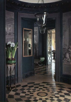 Patterned Floors and Navy Walls