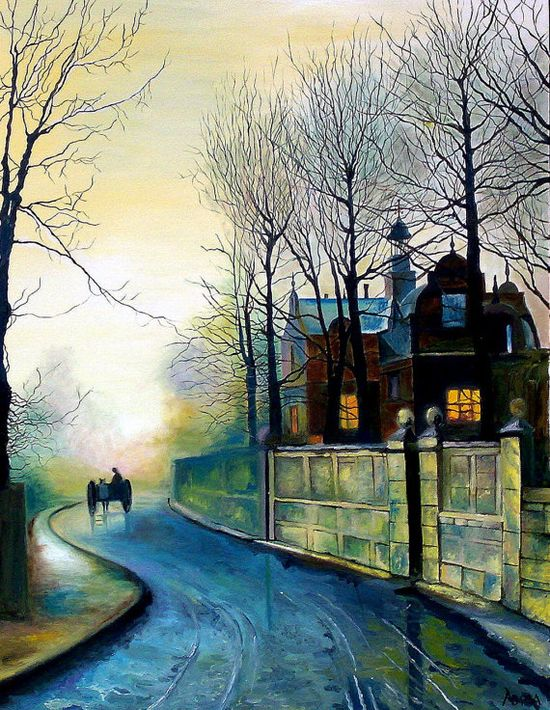 Canvas Print Landscape painting November by ArtonlineGallery, $87.00