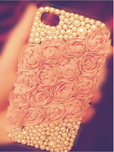 Pink lace flowers style iphone 4 case