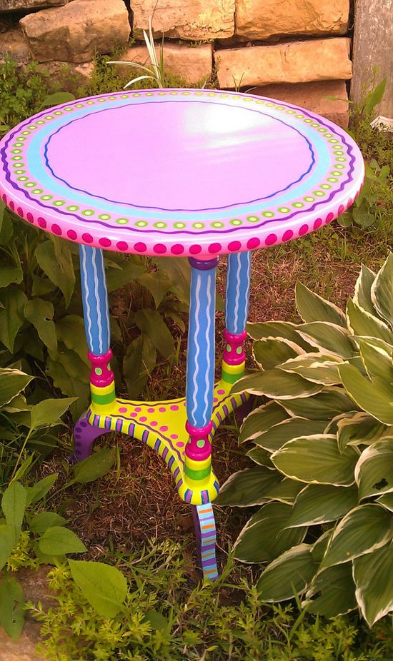 Side Table Hand Painted Furniture Made to Order by LisaFrick,