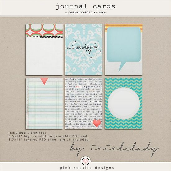 Quality DigiScrap Freebies: Journal Cards freebie from Pink Reptile Designs