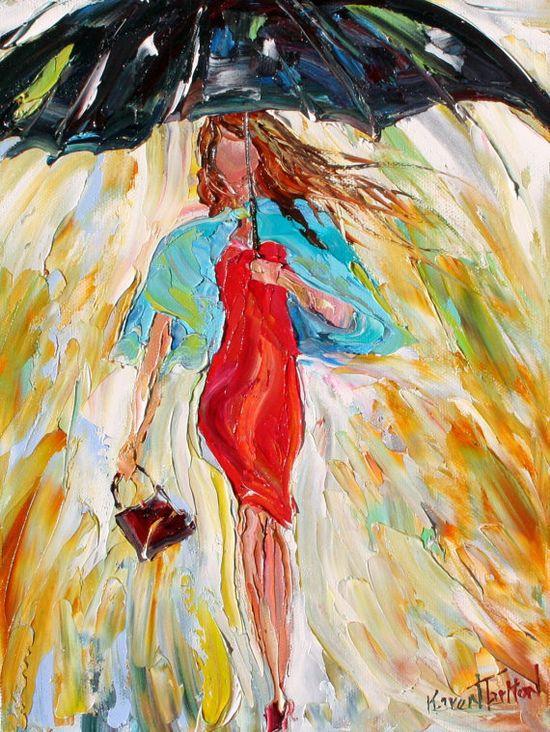 Original oil painting Rain Dance in Red Dress by Karensfineart,
