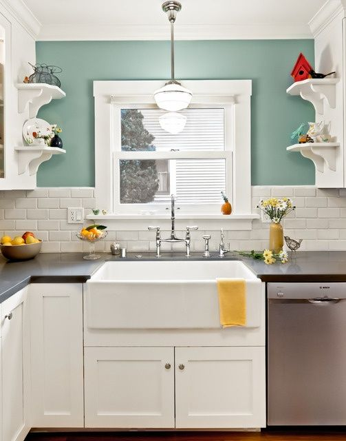 love color combo:   turquoise, red, yellow kitchen