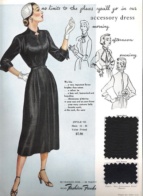 "Dress up - or down - this perpetually stylish black 1950s ""accessory dress"" however your heart desires. #dress #vintage #clothing #fashion #card #1950s #fifties"