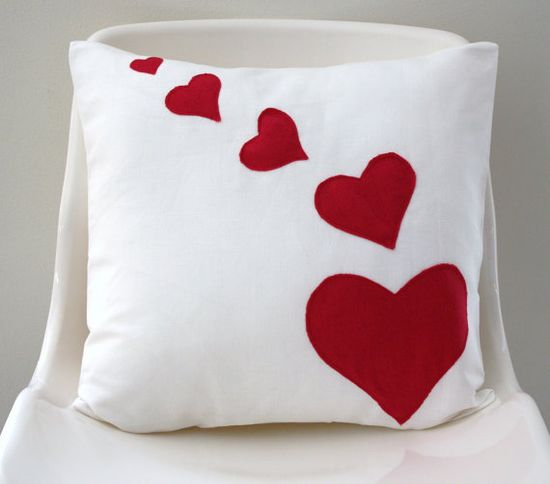 Valentine Heart Pillow Cover red heart on white linen by CapeBags