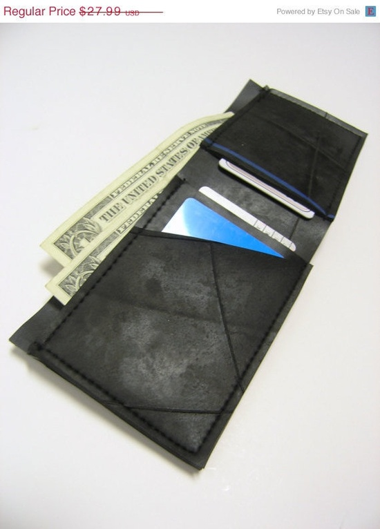 getting this today Recycled Rubber Bi Fold Wallet by ReclaimedWreckage on Etsy, $27.99