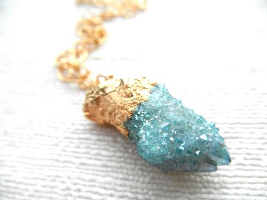 Spirit Quartz Necklace - Druzy Necklace - Gold Necklace - Aqua Necklace - D R U Z Y
