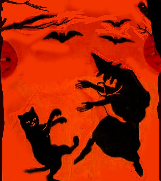 Witch and Black Cat Dancing, Crepe Paper